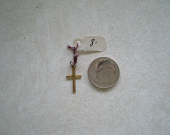 Small Gold Cross, engraved, square center, 10K