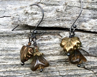 Brown Leaf and Brown Flower Dangle Earrings Made By Lacy