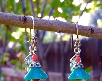 Small Blue Flower With Green Leaf Dangle Earrings