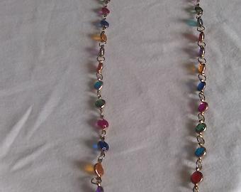 Multi Colored Beaded Goldtone Necklace
