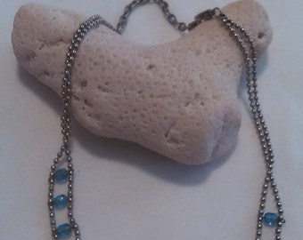 Blue Beaded Chain Necklace