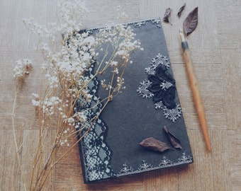 Diary - notebook - recycled paper - anthracite and blue