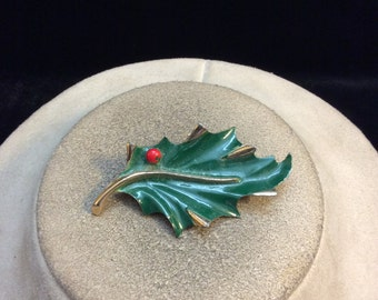 Vintage Red & Green Enameled Leaf Pin