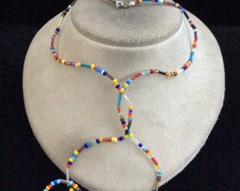 Vintage Long Colorful Glass Beaded Necklace