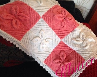 Hand knitted baby leaf blanket