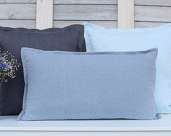 Decorative linen pillow covers. Set of 3. Graphite / Pale Blue / Greyish Blue. Hand made by LinenSky.