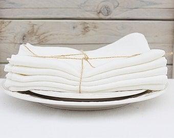 Linen napkins. Set of 6. White Cream. Hand made by LinenSky.