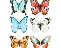 6 Watercolor Butterfly Temporary Tattoo, various sizes available Perfect for wrists fingers and ankles birthdays style 3