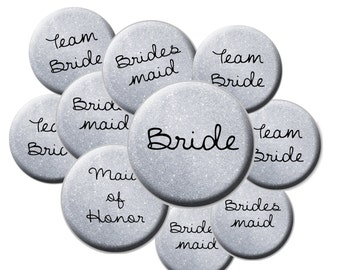 16 Team Bride Buttons - Faux Silver Glitter Team Bride - Faux Glitter Wedding Buttons - Bride Button - Bachelorette Party Buttons