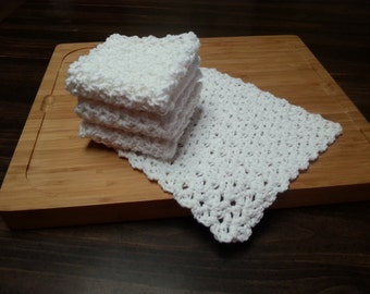 Crocheted Cotton Dishcloths, Set of 4, White, Ecru, Crochet Dishrag, Housewarming Gift, Kitchen Dishcloth