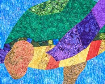Sea Turtle - Quilt Karma Pattern - Paper Strip Piecing Raw Edge Applique