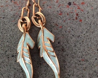 Gold drop earrings with mint green leaves