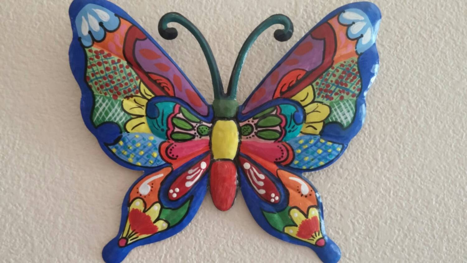 metal wall decor wall hanging butterfly hand painted home. Black Bedroom Furniture Sets. Home Design Ideas