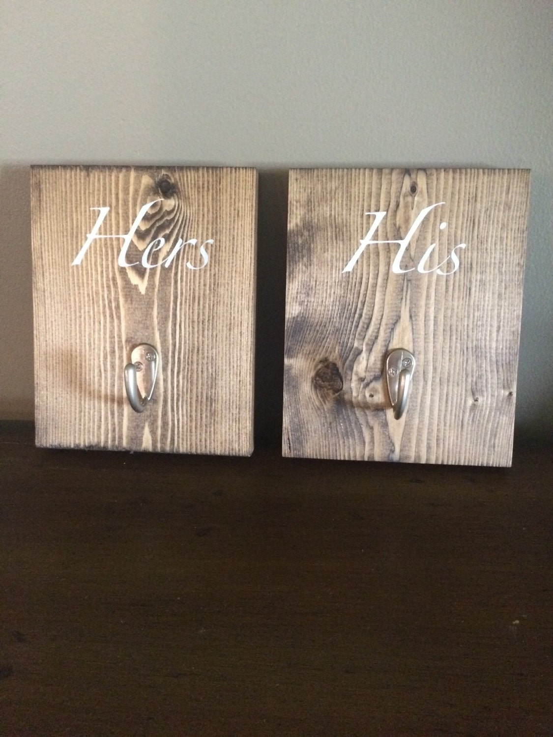 His and hers wood towel hooks bathroom decor by ourrusticroom for His hers bathroom decor