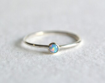 Sterling Silver Blue Opal Ring, Silver Opal Ring, Opal Ring Silver, Stacking Ring, Dainty Ring, Stackable Ring, Sterling Silver Simple Ring