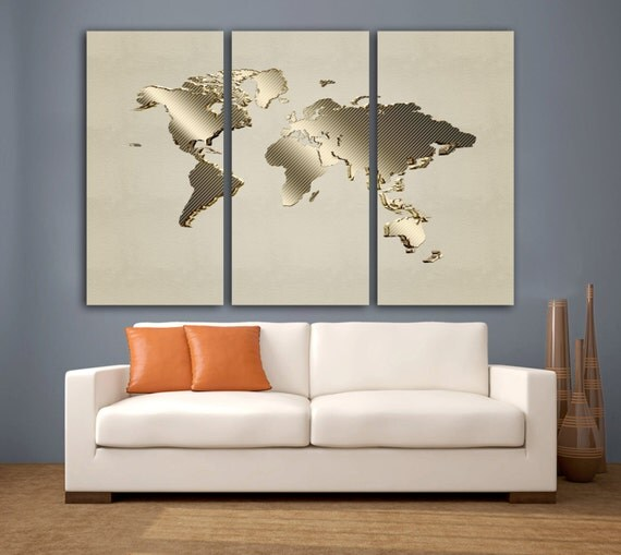 Home Design 3d Gold: 3 Panel Split Gold Color Art 3D Effect World Map Canvas Print