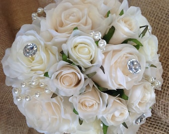 Beautiful Vintage Inspired Silk Rose Wedding Bouquet.