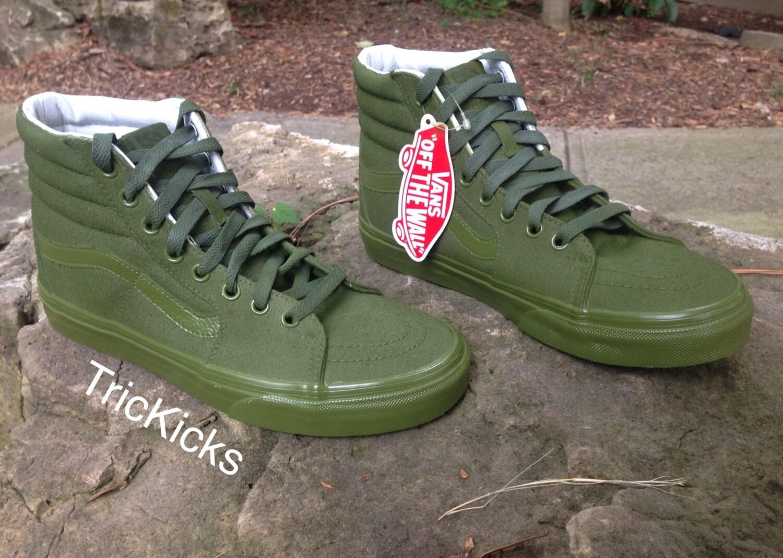 army green vans sk8 hi