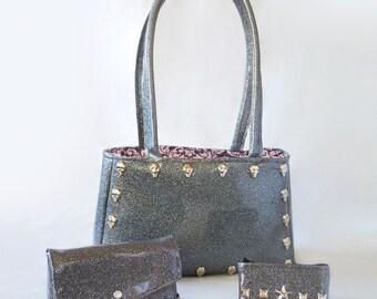 Gray sparkle vinyl purse, clutch, and coin purse