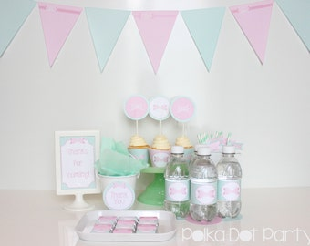 Pink Bow & Mint Party Printable Package