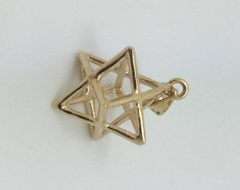 kabbalah pendant, merkaba gold plated pendant necklace , merkaba symbolic gold plated Pendant, gold plated pendant, merkaba pendant, merkaba