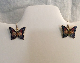 Cloisonne Enamel Butterfly Pierced Earrings