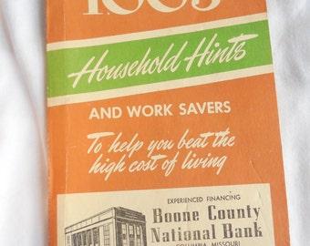 1,003 Household Hints and Work Savers - 1952 - Vintage DIY, homemaker promotional booklet