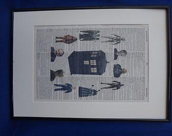 Dr Who Tardis and Enemies Wall Art Print No.37, doctor who, tardis poster, doctor who poster, doctor who print, daleks, boyfriend gift