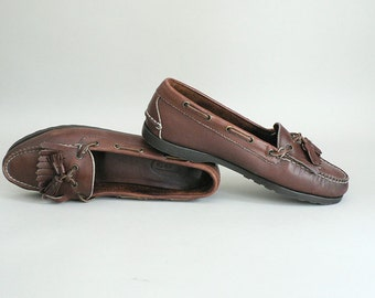 Womens Brown Leather Tassel Loafers Size 9 Narrow