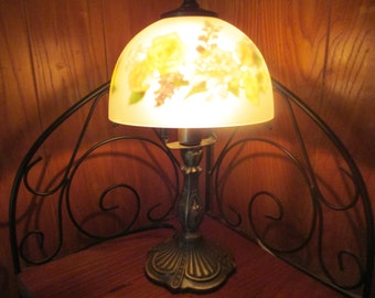 frosted glass desk lamp bed side lamp rose print table lamp, cottage chic, lighting