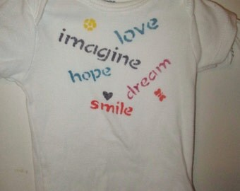 Imagine Hope Dream Love. Custom-made hand-painted baby onesie. Custom colors.