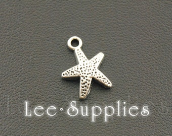 50pcs Antique Silver Alloy Starfish Charms Pendant A1099