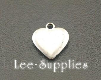 10pcs Antique Silver Alloy Puff Love Heart Charms Pendant A1081