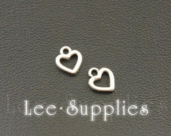 50pcs Antique Silver Alloy Mini Love Heart Charms A1077