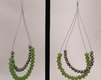Green and Silver loop Earrings
