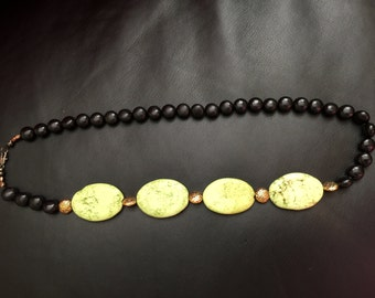 Tourmaline and green turquoise necklace