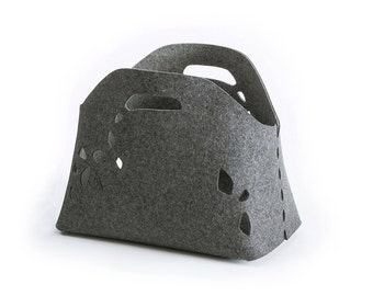 felt storage basket | stones basket | felt basket | felt storage bin | grey felt basket | wool felt basket | storage basket | natural felt