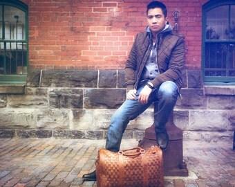 Leather Duffel Bag - Brown Leather Bag - Leather Luggage Bag - Luggage Bag - Weekender Bag - Woven Leather Bag - Duffle Bag