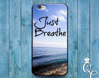 iPhone 4 4s 5 5s 5c SE 6 6s 7 plus iPod Touch 4th 5th 6th Gen Cool Just Breathe Ocean Sandy Beach Case Cute Phone Paradise Quote Cover