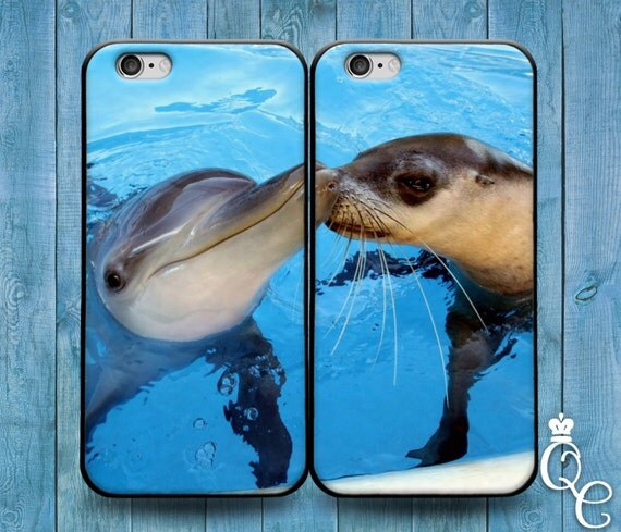 iPhone 4 4s 5 5s 5c SE 6 6s 7 plus iPod Touch 4th 5th 6th Gen Cute Best Friend Couple Bf Gf Kiss Phone Case Funny Dolphin Baby Seal Cover