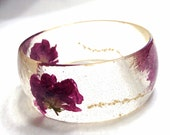 Resin Bangle - Resin Bracelet - Rose Bracelet - - Briadel -  Pressed Flowers - Wedding Jewelry - Bridesmaid Gift - Resin Jewelry - Handmade
