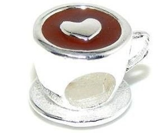 Coffee with Love Bead Charm, fits Trollbeads, Charmed Memories, Charmed Arms