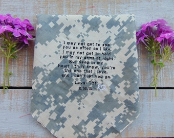 ACU Army Embroidered Wedding Handkerchief, Gift for Groom