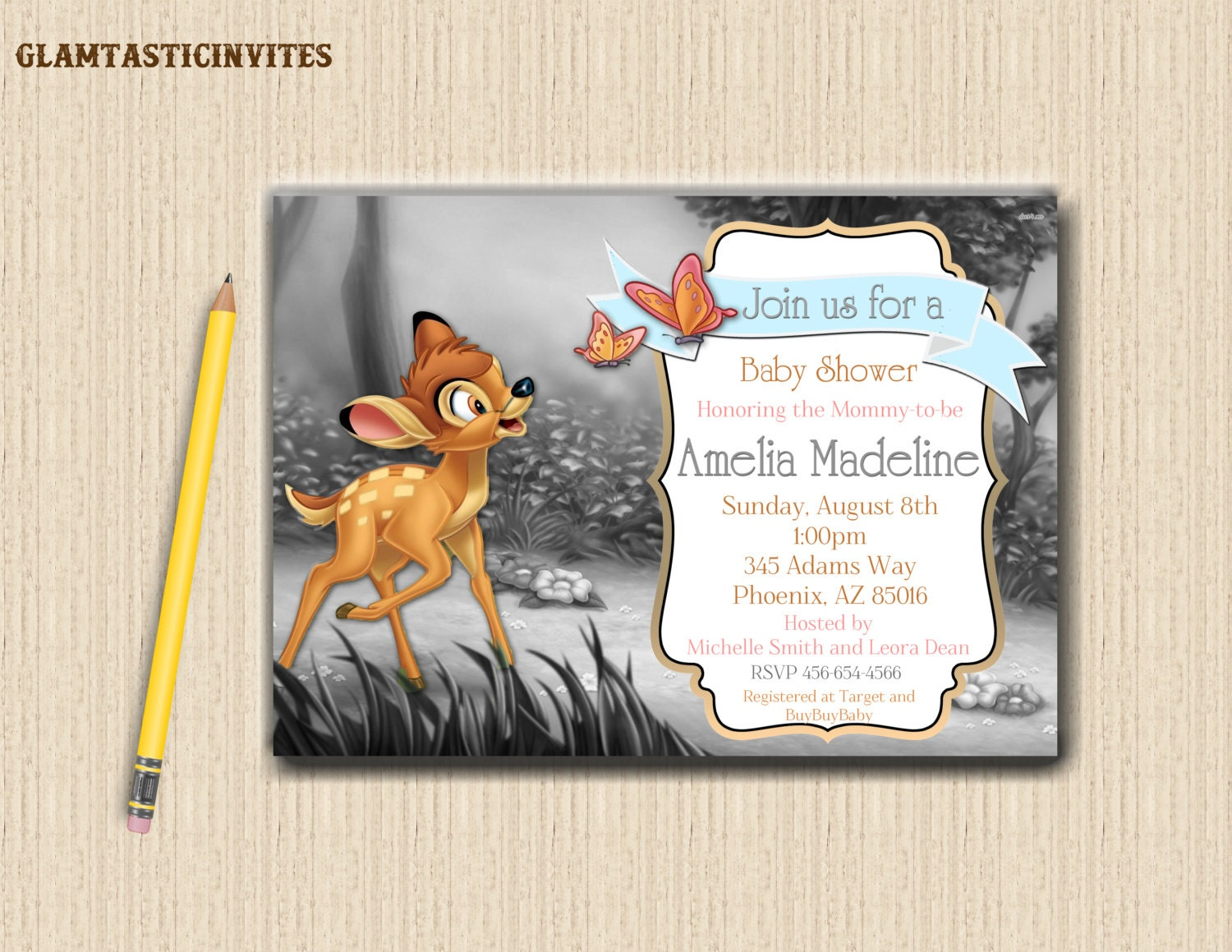 bambi baby shower invitation woods rustic deer fawn themed  etsy, Baby shower