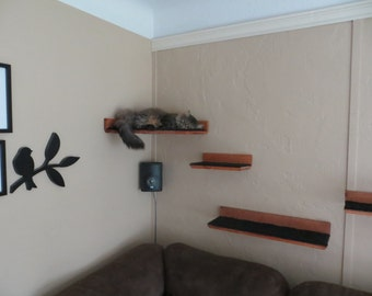 Floating Cat Shelf Set 4 pc. / Corner Perch with 1 Long, and 2 Short Shelves