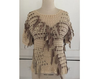 Cotton Mesh Sweater with Leather Fringe
