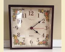 Ingraham Kitchen Clock With mushrooms Vegetables,  1970s Boho Kitchen Clock, Ingraham Clock, Hippie Clock Mushrooms , Hippie Kitchen Clock
