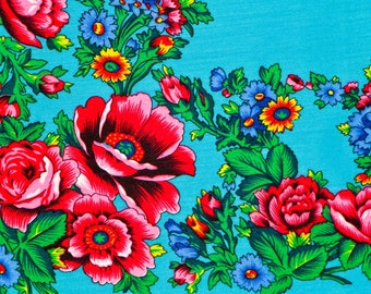 Blue Shawl Vintage Scarf Russian Floral Scarf Blue Boho Shawl Bohemian Scarf Blue Wedding Shawl Womens Fashion Scarf Gift for her Scarf