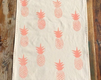 Tea Towel - Block printed tea towel - Beige cotton Tea Towel - Pink Pineapple Tea Towel