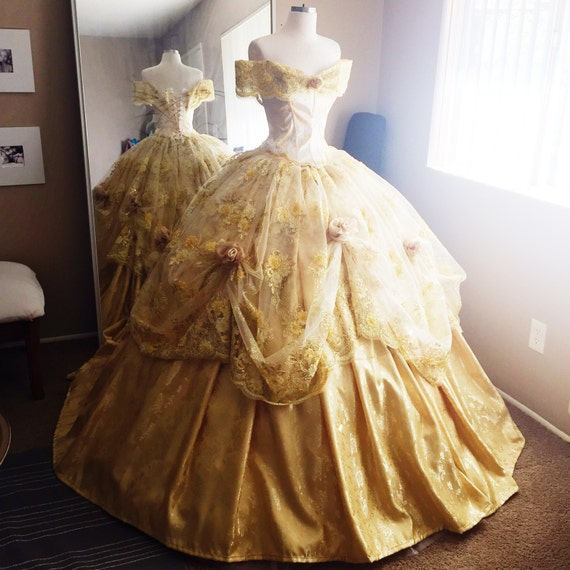 disney inspired deluxe belle ball gown from beauty and the. Black Bedroom Furniture Sets. Home Design Ideas